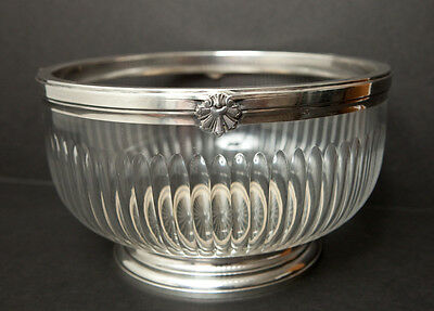 Antique French Sterling Silver & Cut Glass Bowl 9""