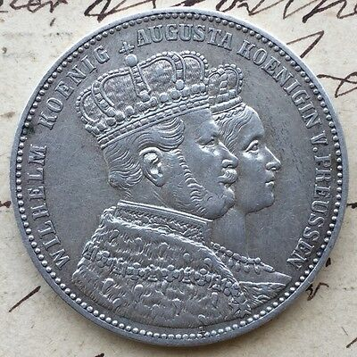 GERMAN STATES. PRUSSIA. 1861 A Silver 1 THALER. Coronation Wilhelm and Augusta.