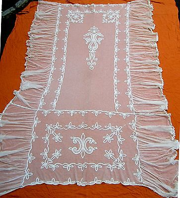 "Antique Tambour French net lace coverlet 110"" x 76"""