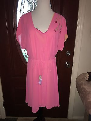 Vintage RARE Amelia's Pink Floral Robe & Nightgown Negligee Gown Large