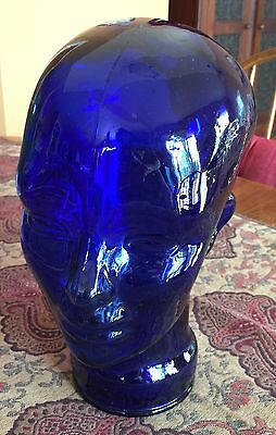 Tinted Blue Glass Mannequin Head Form Human Deco Display Hat Wig Art Novelty