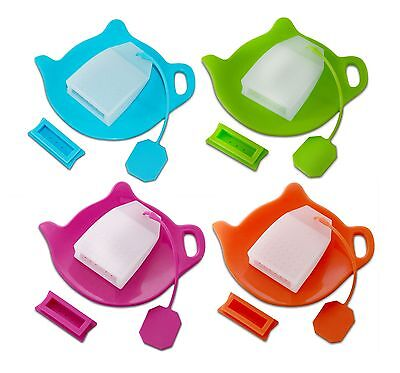TEA INFUSIAST Premium Reusable Silicone Loose Bag Infuser Strainer ~ Holder SET