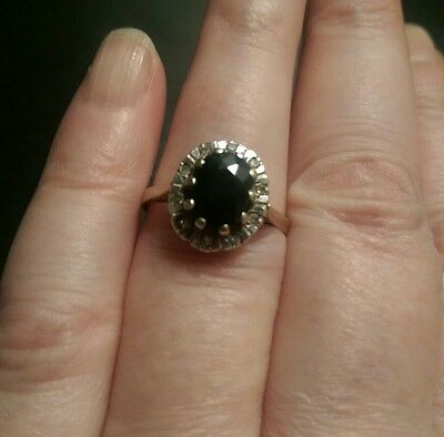 Vintage? Solid 9Ct Yellow Gold Sapphire And Diamond Ring....size O
