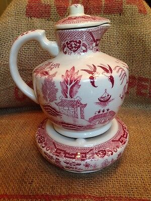 Rare Red Willow Carafe Teapot with Candle Warmer Base Stand Transferware Ceramic