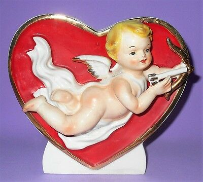 Vintage Napco Cupid With Bow & Arrow Valentine Planter Numbered