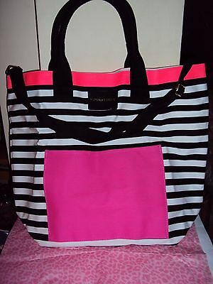 New Victoria's Secret Large Tote/Beach Bag White & Black Stripes & Pink New