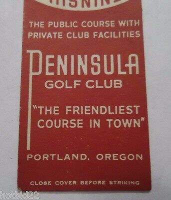 Peninsula Golf Club Matchbook Cover Matchcover Midget Portland Or Oregon Vintage