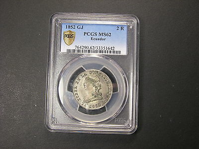1852 GJ   PCGS MS62 Ecuador 2 Reales . FINEST and ONLY MS known .