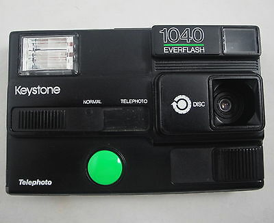 Keystone 1040 Everflash Telephoto Vintage Film Disc Camera Easy Point and Shoot