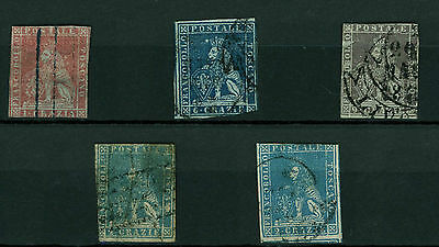 ITALY TUSCANY 1851 5 STAMPS Sc #4 VG ,#7 VG ,#8 ,#20 (2) LION OF TUSCANY LOT43
