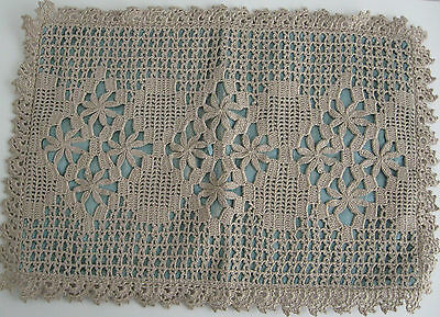 Antique Crocheted Pillow Cover Sham Seafoam Blue Green Silk Vintage Handmade