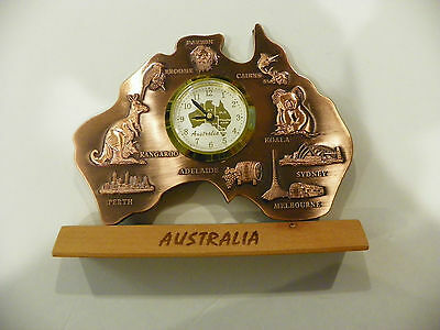 Australia Souvenir Map Clock Copper finish NIB