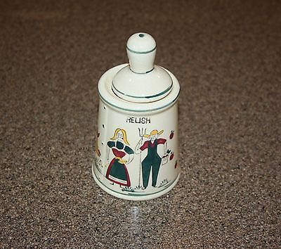 Vintage Relish Jar Pot Ceramic Farmers Couple with Spoon