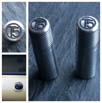 VW T5 Silver Door Lock Pull Pins Set of 2 Precision Machined Laser Engraved Ally