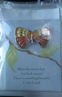 Beautiful (New) Butterfly Lapel Pin - Silver Tone - Includes a Card for Gifting