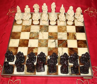 Tolkien Lord of The Rings Chess Set with Ornate Marble Board