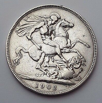 1902 Solid Silver - One Crown - Great Britain - King Edward VII English UK Coin