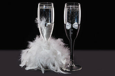 Wedding Bride and Groom Toasting Champagne Flutes Glasses Art Deco Gift