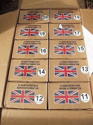 Menu B  British army 24 hour ration pack boxes 11 - 20
