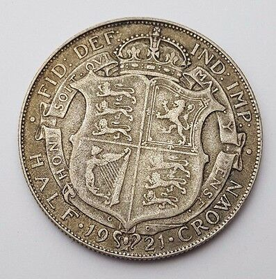 Dated : 1921 - Silver Coin - Half Crown - King George V - Great Britain UK Rare