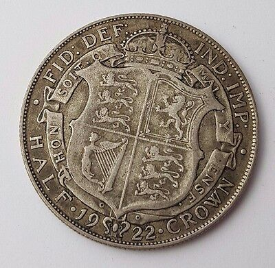 Dated : 1922 - Silver Coin - Half Crown - King George V - Great Britain UK Rare