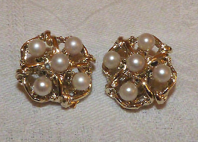 Genuine Vintage pearl and gold tone clip on earrings 1950s