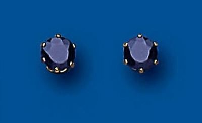 New Hallmarked 9ct Yellow Gold 4mm Real Sapphire Claw Set Stud Earrings