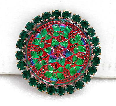 Vintage Style Czech RHINESTONE ALL Glass Button (1 pc) #G654-SIGNED-41 mm-UNIQUE
