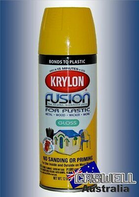 Krylon Fusion Plastic Paint 340gm - Sunbeam Safety Yellow Gloss - AUS Seller