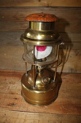 Early Tilley Pork Pie Lamp lantern Orange Enamel Top Glass Brass Kerosene