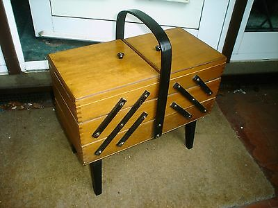 Old Cantilever Wooden Sewing Box On Legs (V.g.c)