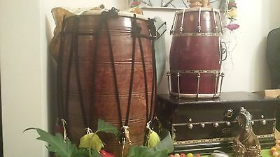 Large Giant magnificent expensive wooden Dhol Drum Instrument great for weddings
