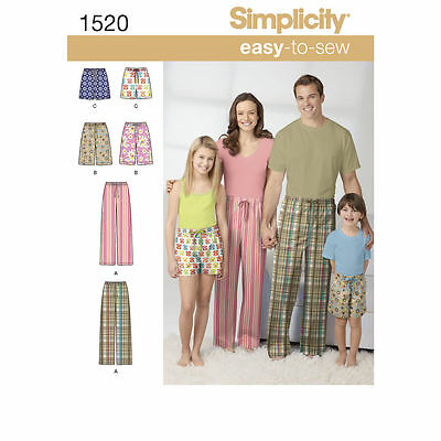 SIMPLICITY Sewing Pattern  Child's Teens'  Adults' Pants and Shorts~1520 Sz 4-16