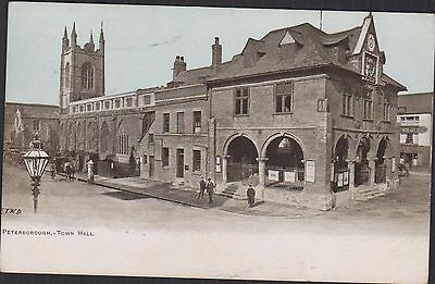 Antique Postcard Of Peterborough Town Hall. Posted 1906. Different Today!