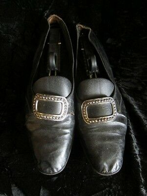 Vintage Men's Leather Court Shoes with Cut Steel Buckles-Regency Shoes