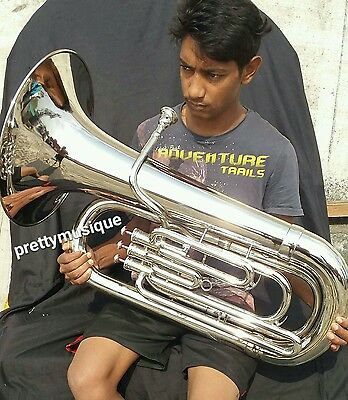 Tuba Eb Pitch Brand New In Silver Chrome Polish +Hard Case+Mouthpc +Free Shippin