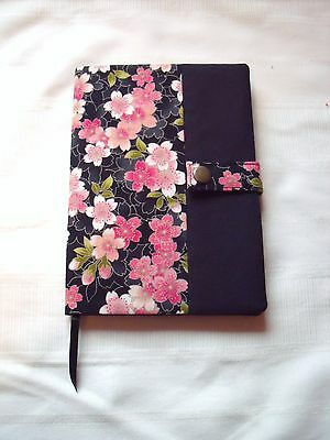 reusable A5 Diary / Book Cover WITH NOTEBOOK in Cherry Blossom / Sakura Cotton