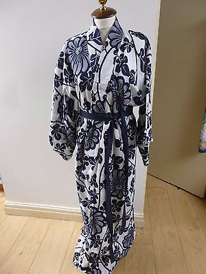 authentic vintage blue  Japanese unlined cotton kimono gown/robe & belt  M