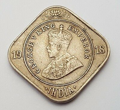 Dated : 1918 - British India - 2 Annas - Coin - King George V