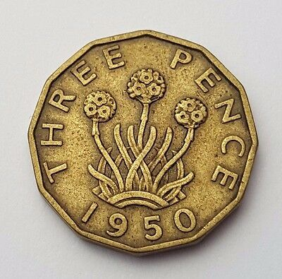 Dated : 1950 - King George VI - Brass - Threepence / 3d Coin - Great Britain