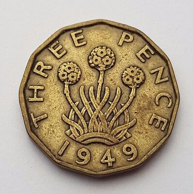Dated : 1949 - King George VI - Brass - Threepence / 3d Coin - Great Britain