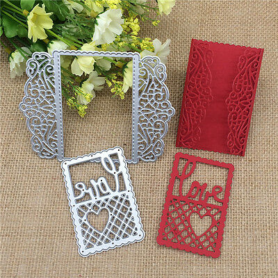 Lace Love Greeting Card Metal Cutting Dies Stencil Scrapbooking Embossing Craft