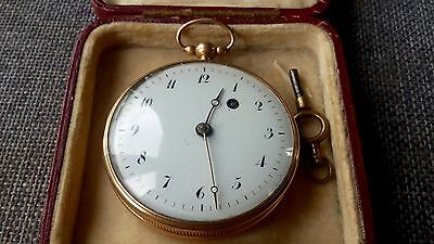 Antique solid 18ct 18k gold verge fusee pocket watch in working condition