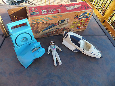 Vintage Ideal Evel Knievel Canyon Sky Cycle W/Vehicle, Box, Figure & Launcher
