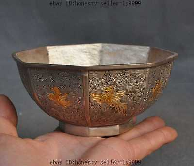 old china chinese dynasty palace silver gilt phoenix bird lucky statue bowl cup