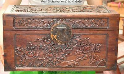 """19"""" old chinese huanghuali wood Hand-carved bird Peony Antique storage box boxes"""