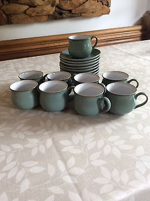 Denby Regency Green Espresso Coffee Cups And Saucers
