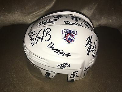 2016-2017 Bridgeport Sound Tigers Team Signed Logo Hockey Mini Helmet Coa