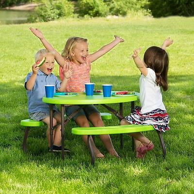 Kids Children Lime Green Picnic Table Indoor Outdoor Camping Garden Yard Bench