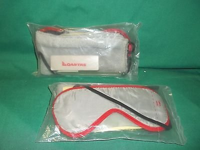 Two (2) Unopened Qantas Airline Grooming Packs with Comb Washcloth Sleep Mask +